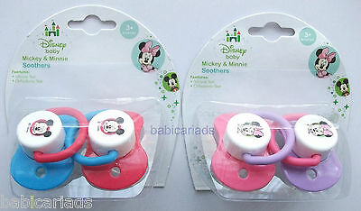 Disney Minnie Mickey Mouse baby dummy soother pacifier 2 pack boy girl 3 months+
