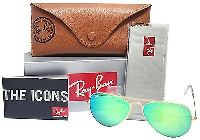 Ray Ban Green Mirror / Matte Gold Unisex Aviator 58 mm
