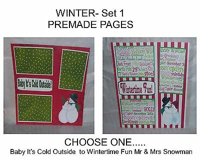 """""""WINTER"""" -SET 1 - Premade Page 12x12-Choose One-Just Add Pics!"""