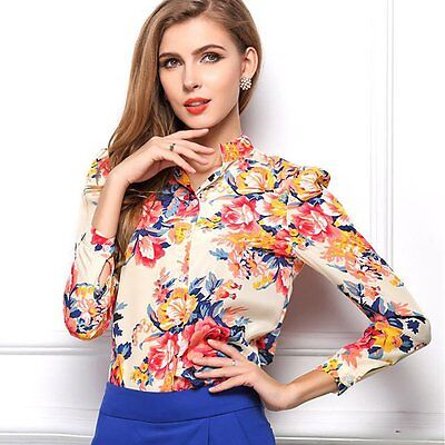 Sexy Fashion Women's Floral Loose Chiffon Tops Long Sleeve Shirt Casual Blouse L