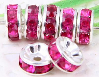 100Pcs Silver Plated Acrylic Crystals Spacer Bead 8mm Rose