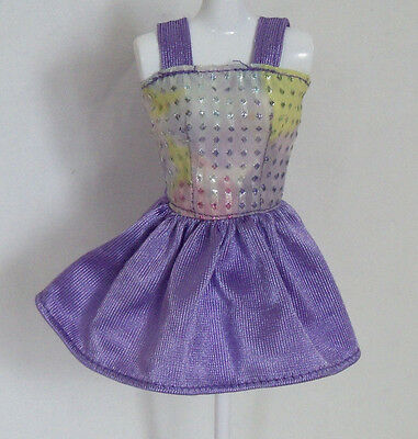 Barbie Doll Clothes Clothing Purple White Dress with Silver Dots L743