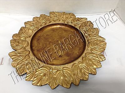 Pottery Barn Gold Leaf Autumn Fall Harvest Thanksgiving Charger Plate Tray 14""