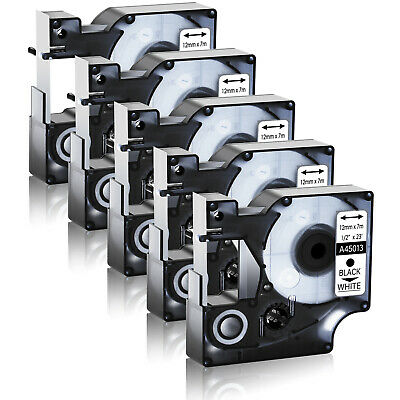 5 PK Compatible Black on White DYMO D1 45013 S0720530 Labelmanager Label Tape