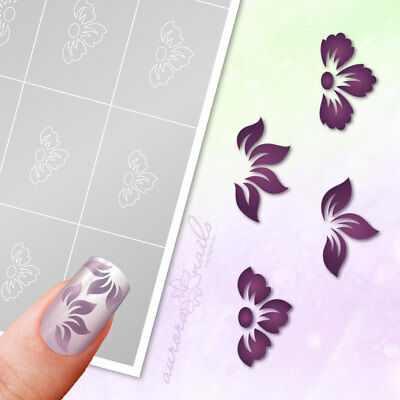 Airbrush sticky Stencils - Set 028 - Nailart - Flower Floral 80 Pcs