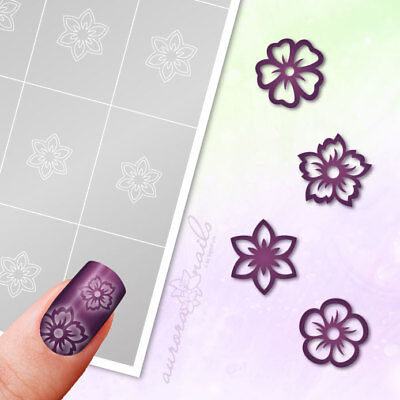 Airbrush sticky Stencils - Set 025 - Nailart - Flower Floral 80 Pcs