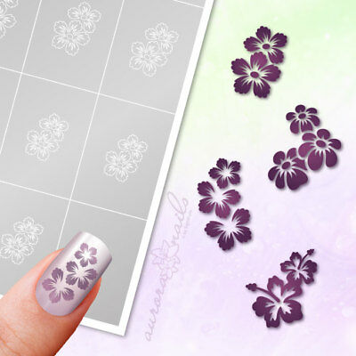 Airbrush sticky Stencils - Set 026 - Nailart - Flower Floral 80 Pcs