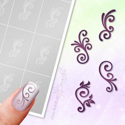Airbrush sticky Stencils Set033 Nailart Tendril Bamboo Blumenmuster Manicure