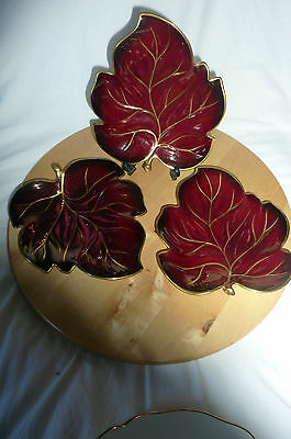 Rouge Royale Leaf Dishes x 3 Carlton Ware