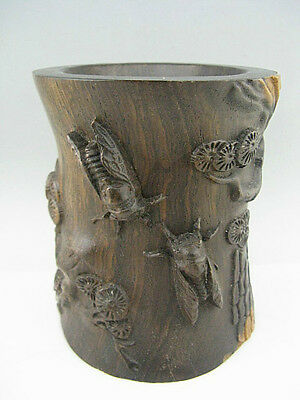 Fine China Rosewood Hand Carved Pine tree Cicada Brush Pots**Free Shipping**