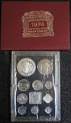 1974 REPUBLIC OF INDIA PROOF SET OF 10 COINS with Original Cover - RARE