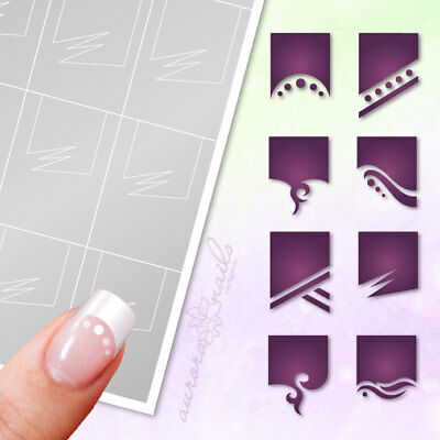 Airbrush Adhesive Stencil Set 031 Nail Art French Manicure 8 Motive Smile Line