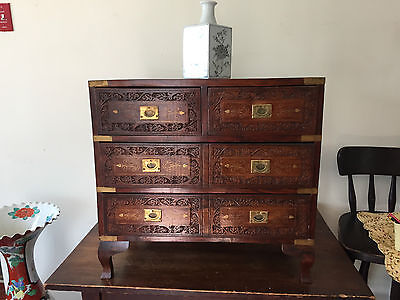 ANTIQUE 1900 KOREAN Or India SCHOLAR CHEST BURL WOOD brass fittings fancy inlay