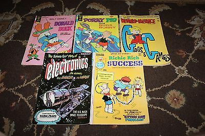 Lot of 5 Different VTG Comics- Dennis The Menace, Donald Duck, Porky Pig, MORE