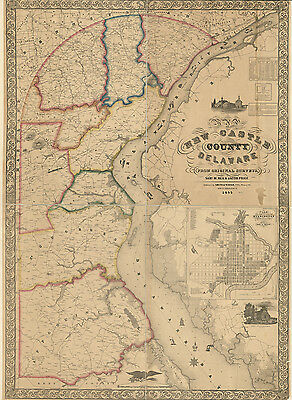 1849 Map of New Castle County Delaware from original surveys