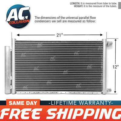 """A//C AC Universal Condenser 22/"""" X 22/"""" Parallel High Flow O-ring #6 /& #8"""