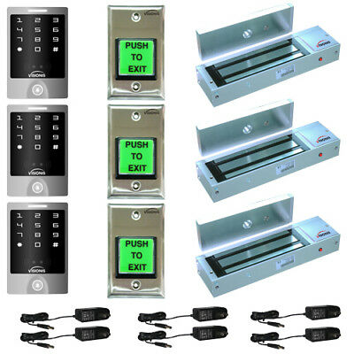 Visionis 5124 Three Door Access Control Kit 1200lbs Maglock and Outdoor Keypad