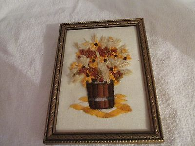 """SMALL GOLD ART DECO FRAME WITH NEEDLEPOINT PIC SIZE IS 5"""" BY 7"""""""