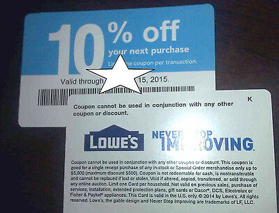 10 COMPETITOR coupons  NOT LOWE'S  10% Off at MENARDS & HOME DEPOT Exp JULY 15th