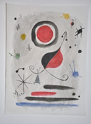 JOAN MIRO abstract ink, watercolor drawing. Framed. Signed. Rare must have item!