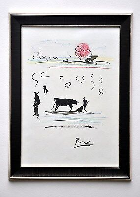 PABLO PICASSO mixed media, ink gouache drawing. Framed. Signed. Rare!