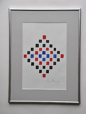 SONIA DELAUNAY Art Deco orphism, watercolor drawing, Framed. Fashion designer!