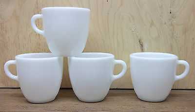 4 vtg Pyrex thick Milk Glass Coffee Cup MUG lot 10oz old style one finger handle