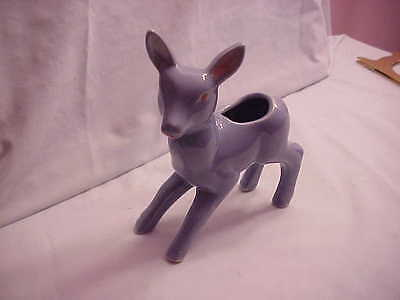 VINTAGE POTTERY BLUE FAWN PLANTER NOT MARKED