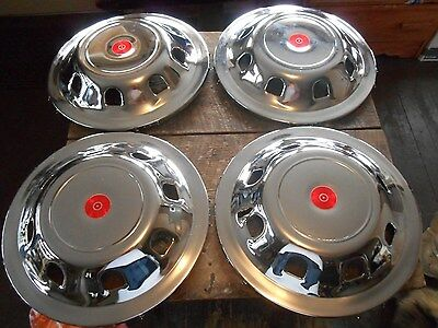 ** New old Stock Lot 4 Vintage Chrome Chevy ? Ford ? Work Truck ? Red Hubcaps **