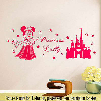 Personalised Disney Minnie Mouse Crown Wall Art Sticker girls Name Castle Decal