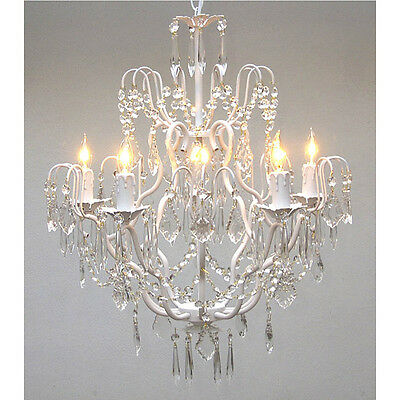 White Iron Chandelier 5-light Ceiling Fixture Light Crystal Accent Lighting