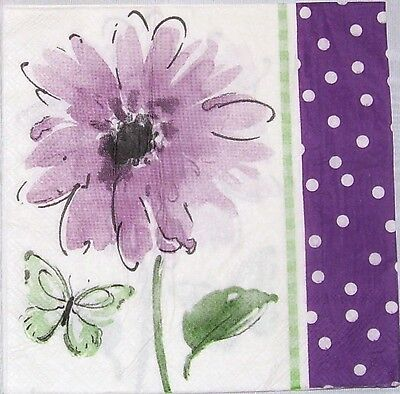 TWO Purple Flower Paper Luncheon Napkins for Decoupage and Paper Crafts