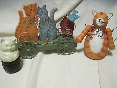 WOODEN WHIMSICAL CAT FIGURINES HAND PAINTED LOT OF 2 W/AVON CAT