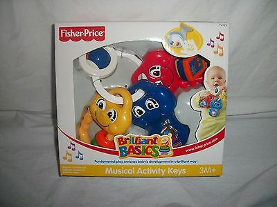FISHER PRICE BRILLIANT BASICS MUSICAL ACTIVITY KEYS FUN ON THE GO SPINS + NEW