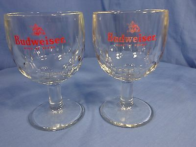 "VINTAGE Set of 2 Budweiser Glass Beer Mug Goblets NICE!! 6.25"" Tall"