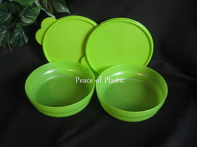 Tupperware Impressions MICROWAVE GREEN Cereal Salad BOWLS SET of 2 New
