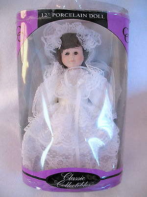 """PORCELAIN WEDDING BRIDE DOLL BY CLASSIC COLLECTIBLES 12""""  Box has damage NOS"""