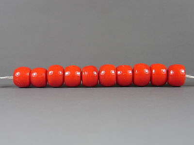 12 Vintage Red Padre Shape Chinese Peking Glass Trade BEADs #193
