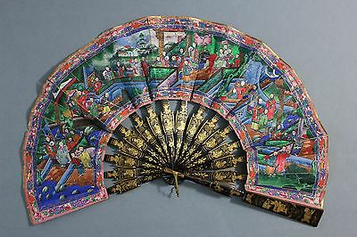 SUPERB 19TH C.CENTURY CHINESE CANTONESE TELESCOPIC LACQUER WITH BOX FAN