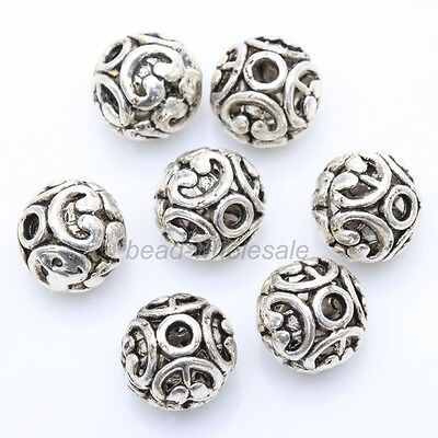 10Pcs Tibetan silver 12mm Round Shaped Hollow Antique Silver Spacer Bead