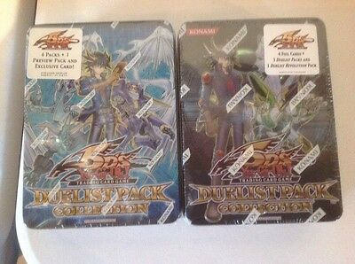 2 TIN LOT OF  YUGIOH 5DS DUELIST PACK COLLECTION TIN BOX FACT SEALD