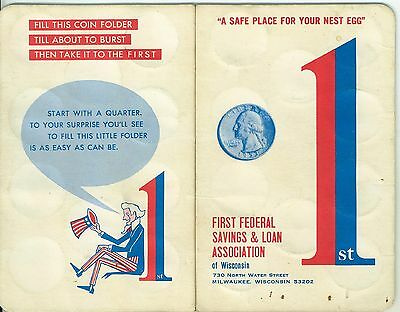 1960s Quarter Saver Folder First Federal S & L Milwaukee WI