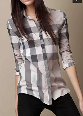 NEW Women's Burberry Brit Size M Check Cotton Shirt Pale Trench