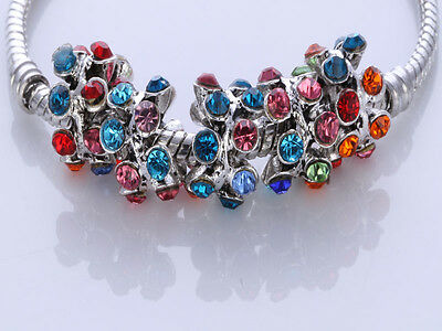 5pcs CRYSTAL Retro silver SPACER BEADS FIT European Beads Charm Bracelet/X6