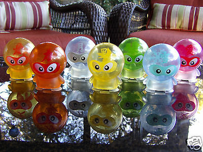 LOT OF 7 Japanese Capsule Toy ROUND HEAD FIGURE SNOW FIRE HEART LIGHTNING BOLT