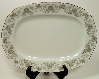 """HUTSCHENREUTHER WALLACE CHINA CORSAGE - MINT - 12 1/4"""" OVAL SERVING PLATTER"""