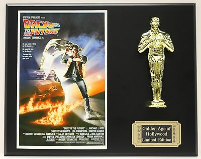 BACK TO THE FUTURE, MICHAEL J. FOX OSCAR MOVIE DISPLAY FREE U.S. SHIPPING