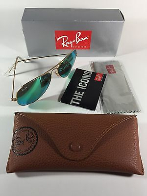 New Authentic Ray Ban RB3025 Aviator Classic 58mm Green Flash *Made in Italy*