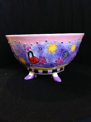 Whimiscal Studio Designworks Hand Painted Pottery BOWL w/ 4 Feet in High Heels
