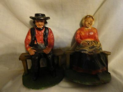 VINTAGE CAST IRON AMISH (COUPLE) MAN AND WOMAN BOOKENDS